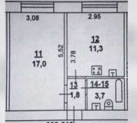 Однокомнатная квартира в Золотом Квадрате СЖМ