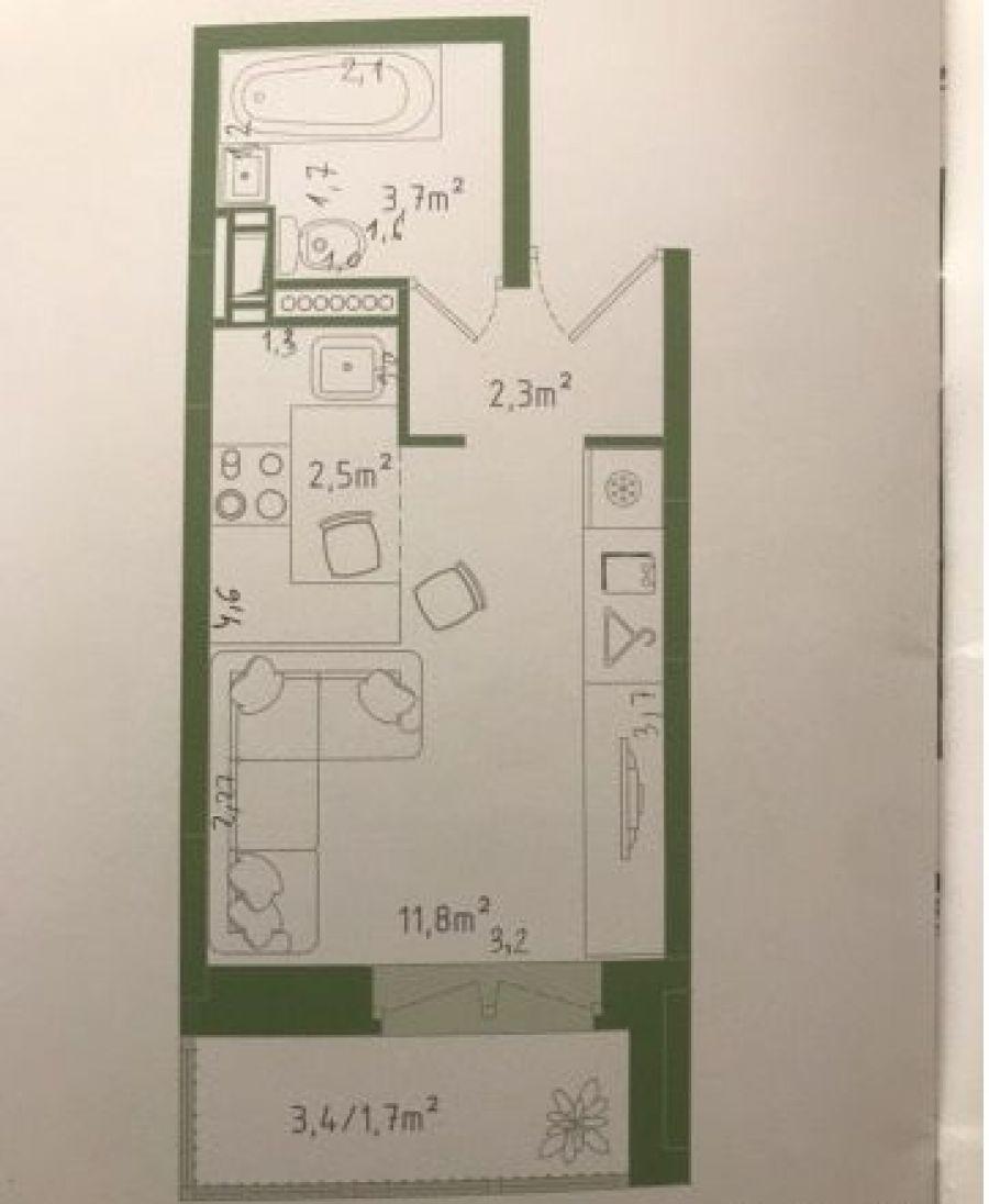 1-комнатная квартира студия п.Свердловский ЖК Лукино-Варино ул.Строителей д. 20, фото 3