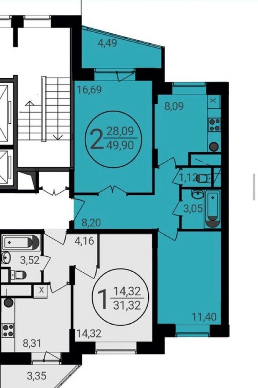 2-комнатная квартира г.Пушкино ЖК Новое Пушкино ул.Просвещения 13 корп.3, фото 1