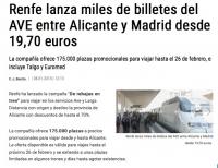 Национальная сеть железных дорог Испании выпустила в продажу 175000 билетов (пассажирских мест) по цене 19,7 евро!