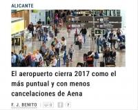 Аэропорт Аликанте является самым пунктуальным аэропортом 2017 года и аэропортом с наименьшим количеством перенесённых и отменённых рейсов