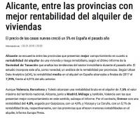 Аликанте является провинцией с одним из лучших показателей рентабельности аренды