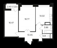2-х комнатная квартира Вавилова 69а